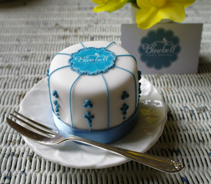 Minature Cake With Bluebell Design Edible Logo