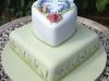 Spring themed 2 tier wedding cake with Surrey Hills theme & Chalkhill Blue butterflies & bluebells