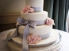 Simple & elegant 3 tier cake with silver ribbon & pink sugar roses
