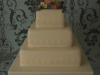 Vintage style 3tier, square wedding cake with wired sugar flowers