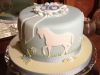 Riding themed cake with rosette